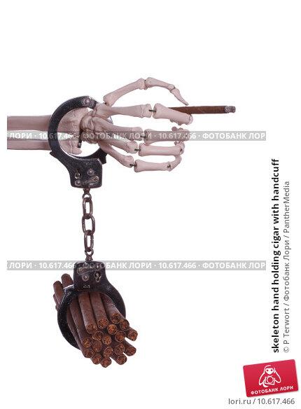 skeleton hand holding cigar with handcuff. Стоковое фото, фотограф P Terwort / PantherMedia / Фотобанк Лори