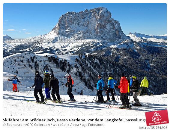 Skifahrer am Grödner Joch, Passo Gardena, vor dem Langkofel, Sassolungo... Стоковое фото, фотограф Zoonar.com/GFC Collection / age Fotostock / Фотобанк Лори