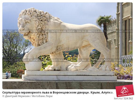 Скульптура мраморного льва в Воронцовском дворце. Крым, Алупка., эксклюзивное фото № 324562, снято 29 апреля 2008 г. (c) Дмитрий Неумоин / Фотобанк Лори