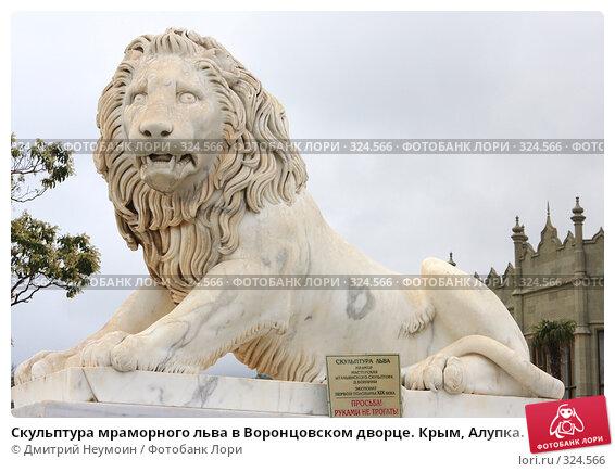 Скульптура мраморного льва в Воронцовском дворце. Крым, Алупка., эксклюзивное фото № 324566, снято 29 апреля 2008 г. (c) Дмитрий Неумоин / Фотобанк Лори