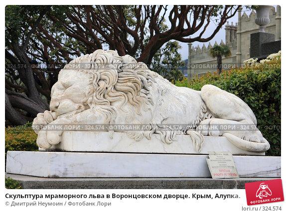 Скульптура мраморного льва в Воронцовском дворце. Крым, Алупка., эксклюзивное фото № 324574, снято 29 апреля 2008 г. (c) Дмитрий Неумоин / Фотобанк Лори