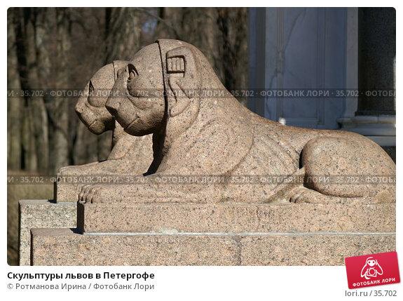 Скульптуры львов в Петергофе, фото № 35702, снято 1 апреля 2007 г. (c) Ротманова Ирина / Фотобанк Лори