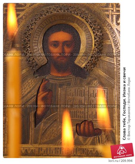 Купить «Слава тебе, Господи. Икона и свечи», эксклюзивное фото № 209994, снято 22 февраля 2008 г. (c) Виктор Тараканов / Фотобанк Лори