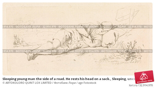Sleeping young man the side of a road. He rests his head on a sack., Sleeping, unconsciousness, Pieter de Goeje, Amsterdam (possibly), 1789 - 1859, paper, etching, w 143 mm × h 65 mm. Редакционное фото, фотограф ARTOKOLORO QUINT LOX LIMITED / age Fotostock / Фотобанк Лори