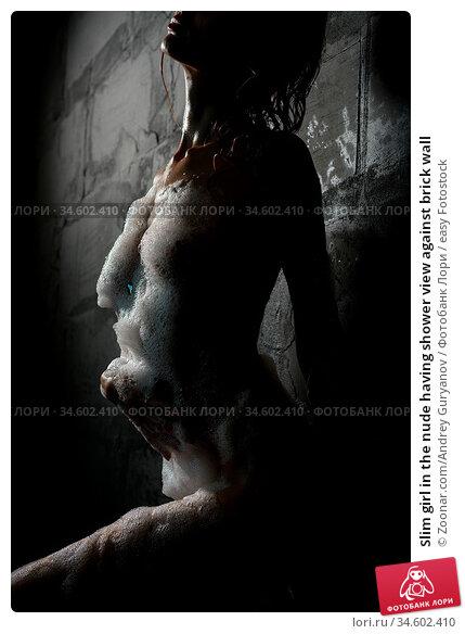 Slim girl in the nude having shower view against brick wall. Стоковое фото, фотограф Zoonar.com/Andrey Guryanov / easy Fotostock / Фотобанк Лори