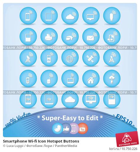 Купить «Smartphone Wi-fi Icon Hotspot Buttons», иллюстрация № 10750226 (c) PantherMedia / Фотобанк Лори