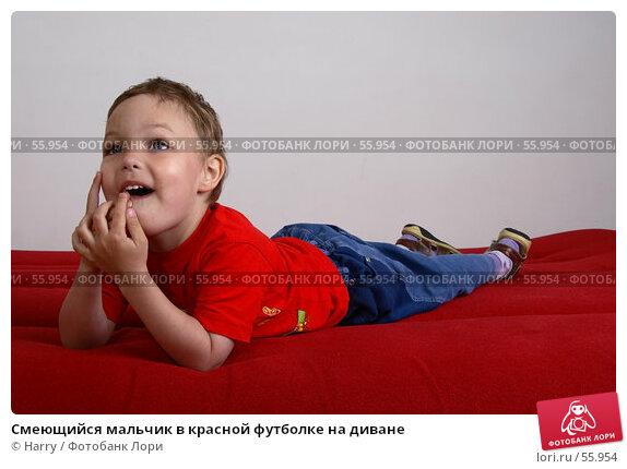 Смеющийся мальчик в красной футболке на диване, фото № 55954, снято 4 июня 2007 г. (c) Harry / Фотобанк Лори