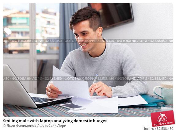 Купить «Smiling male with laptop analyzing domestic budget», фото № 32538450, снято 10 декабря 2019 г. (c) Яков Филимонов / Фотобанк Лори