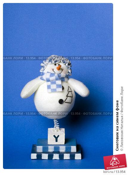 Купить «Снеговик на синем фоне», фото № 13954, снято 1 декабря 2006 г. (c) Лисовская Наталья / Фотобанк Лори