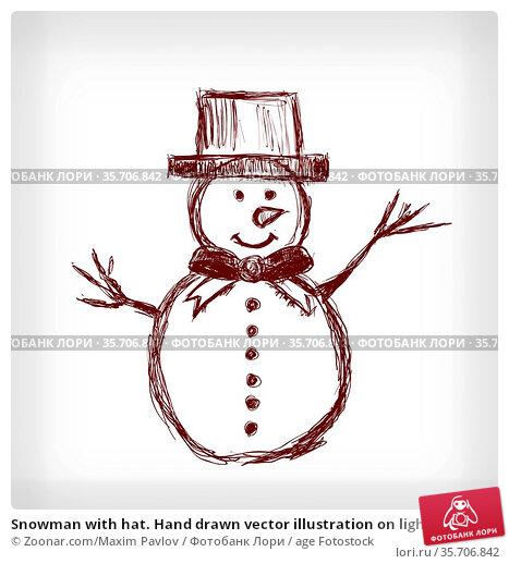 Snowman with hat. Hand drawn vector illustration on light grey background. Стоковое фото, фотограф Zoonar.com/Maxim Pavlov / age Fotostock / Фотобанк Лори