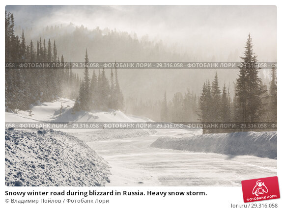 Купить «Snowy winter road during blizzard in Russia. Heavy snow storm.», фото № 29316058, снято 18 ноября 2018 г. (c) Владимир Пойлов / Фотобанк Лори