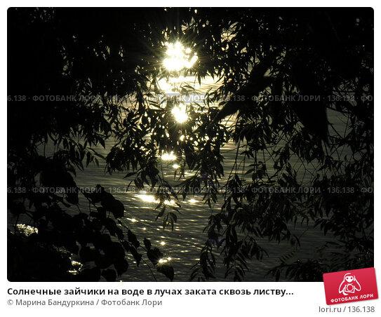 Солнечные зайчики на воде в лучах заката сквозь листву..., фото № 136138, снято 12 июля 2007 г. (c) Марина Бандуркина / Фотобанк Лори