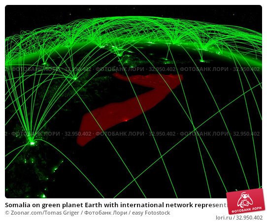 Somalia on green planet Earth with international network representing communication, travel and connections. 3D illustration. Elements of this image furnished by NASA. Стоковое фото, фотограф Zoonar.com/Tomas Griger / easy Fotostock / Фотобанк Лори
