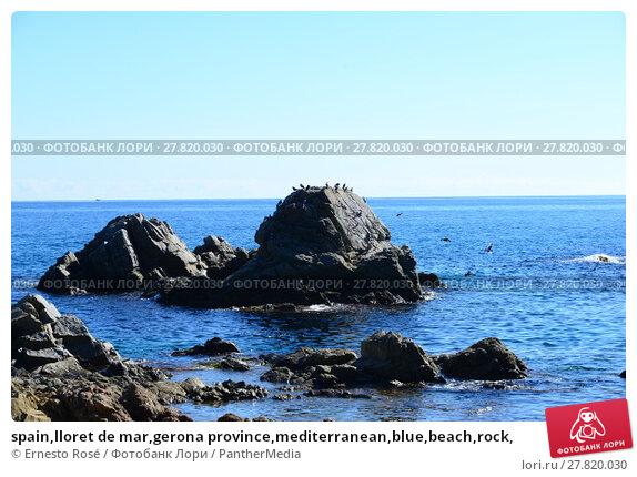 Купить «spain,lloret de mar,gerona province,mediterranean,blue,beach,rock,», фото № 27820030, снято 24 октября 2018 г. (c) PantherMedia / Фотобанк Лори