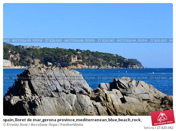 Купить «spain,lloret de mar,gerona province,mediterranean,blue,beach,rock,», фото № 27820042, снято 24 февраля 2018 г. (c) PantherMedia / Фотобанк Лори