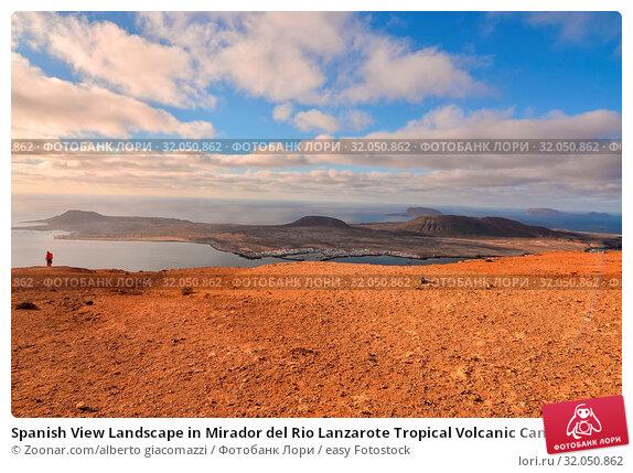 Spanish View Landscape in Mirador del Rio Lanzarote Tropical Volcanic Canary Islands Spain. Стоковое фото, фотограф Zoonar.com/alberto giacomazzi / easy Fotostock / Фотобанк Лори