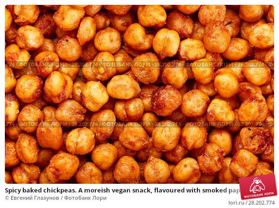 Купить «Spicy baked chickpeas. A moreish vegan snack, flavoured with smoked paprika, cumin and coriander.», фото № 28202774, снято 15 марта 2018 г. (c) Евгений Глазунов / Фотобанк Лори