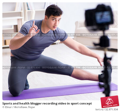 Sports and health blogger recording video in sport concept. Стоковое фото, фотограф Elnur / Фотобанк Лори