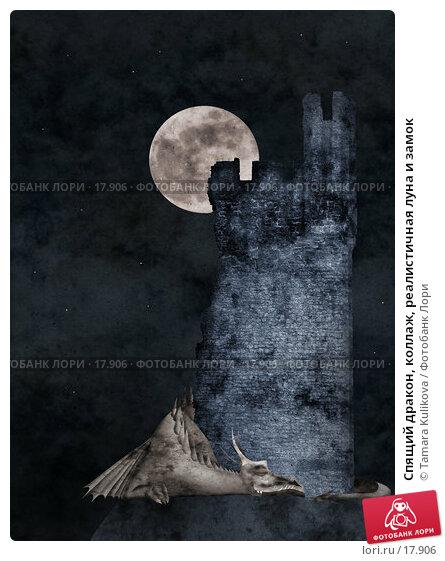 Купить «Спящий дракон, коллаж, реалистичная луна и замок», иллюстрация № 17906 (c) Tamara Kulikova / Фотобанк Лори