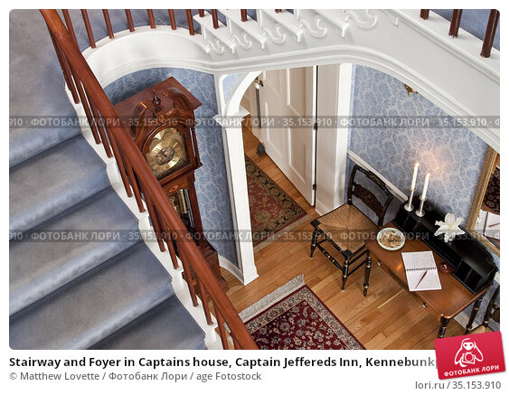 Stairway and Foyer in Captains house, Captain Jeffereds Inn, Kennebunkport... Стоковое фото, фотограф Matthew Lovette / age Fotostock / Фотобанк Лори