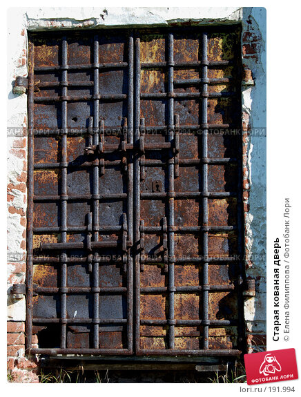 Старая кованая дверь, фото № 191994, снято 29 августа 2007 г. (c) Елена Филиппова / Фотобанк Лори