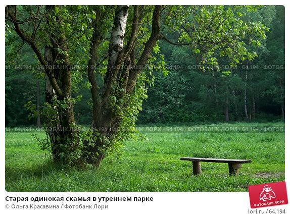 Старая одинокая скамья в утреннем парке, фото № 64194, снято 23 мая 2007 г. (c) Ольга Красавина / Фотобанк Лори