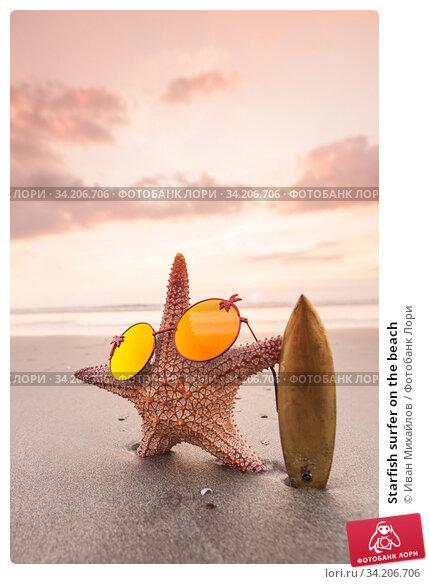 Starfish surfer on the beach. Стоковое фото, фотограф Иван Михайлов / Фотобанк Лори