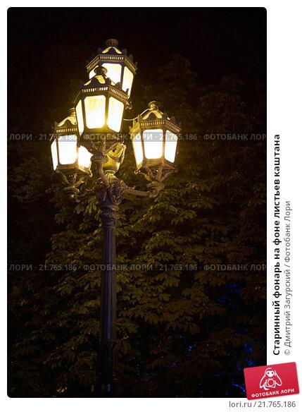 Старинный фонарь на фоне листьев каштана. Стоковое фото, фотограф Дмитрий Загурский / Фотобанк Лори