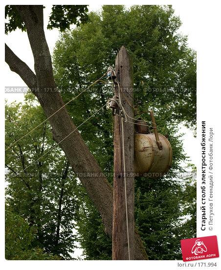 Старый столб электроснабжения, фото № 171994, снято 24 июля 2007 г. (c) Петухов Геннадий / Фотобанк Лори