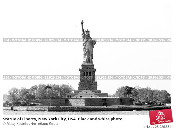 Купить «Statue of Liberty, New York City, USA. Black and white photo.», фото № 28926534, снято 21 августа 2018 г. (c) Matej Kastelic / Фотобанк Лори