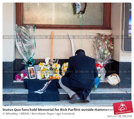 Купить «Status Quo fans hold Memorial for Rick Parfittt outside Hammersmith Odeon Apollo Featuring: Atmosphere, View Where: London, United Kingdom When: 29 Dec 2016 Credit: Wheatley/WENN.», фото № 28700918, снято 29 декабря 2016 г. (c) age Fotostock / Фотобанк Лори