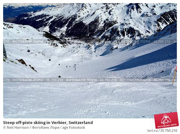Steep off-piste skiing in Verbier, Switzerland. Стоковое фото, фотограф Neil Harrison / age Fotostock / Фотобанк Лори