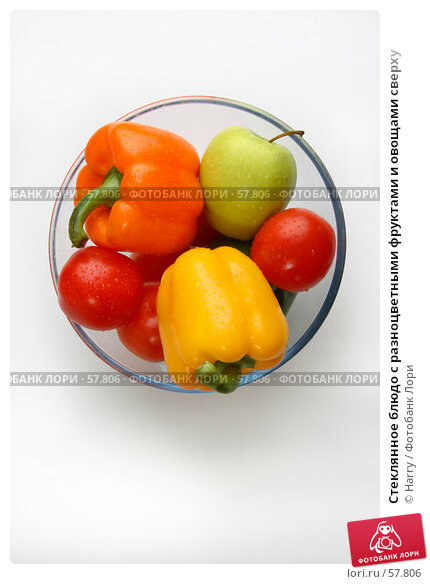 Стеклянное блюдо с разноцветными фруктами и овощами сверху, фото № 57806, снято 26 мая 2006 г. (c) Harry / Фотобанк Лори