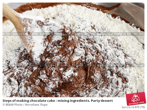 Купить «Steps of making chocolate cake : mixing ingredients. Party dessert», фото № 6975778, снято 22 мая 2019 г. (c) BE&W Photo / Фотобанк Лори