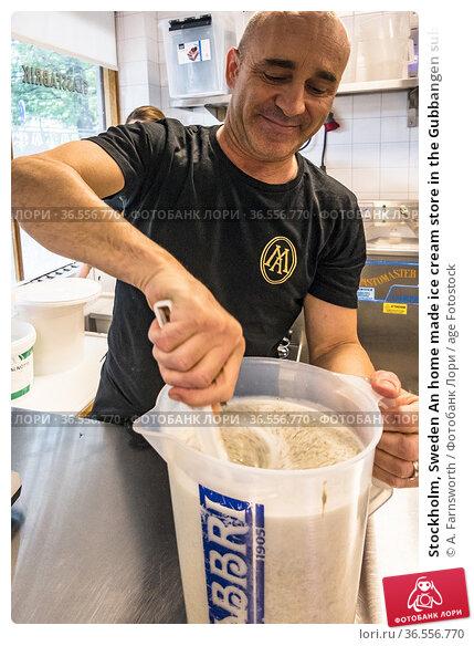 Stockholm, Sweden An home made ice cream store in the Gubbangen suburb... Редакционное фото, фотограф A. Farnsworth / age Fotostock / Фотобанк Лори