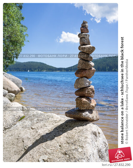 Купить «stone balance on a lake - schluchsee in the black forest», фото № 27832290, снято 22 октября 2018 г. (c) PantherMedia / Фотобанк Лори
