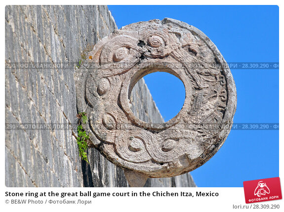 Купить «Stone ring at the great ball game court in the Chichen Itza, Mexico», фото № 28309290, снято 27 апреля 2018 г. (c) BE&W Photo / Фотобанк Лори