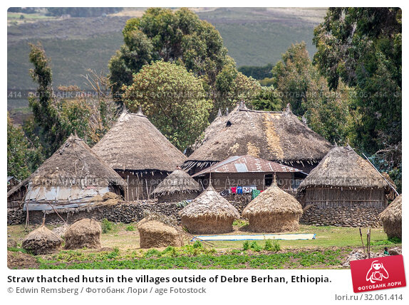 Straw thatched huts in the villages outside of Debre Berhan, Ethiopia. Стоковое фото, фотограф Edwin Remsberg / age Fotostock / Фотобанк Лори