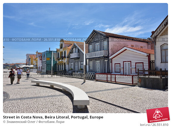Street in Costa Nova, Beira Litoral, Portugal, Europe, фото № 26551810, снято 9 июня 2017 г. (c) Знаменский Олег / Фотобанк Лори