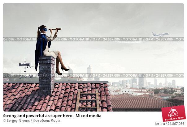 Купить «Strong and powerful as super hero . Mixed media», фото № 24867086, снято 19 марта 2019 г. (c) Sergey Nivens / Фотобанк Лори