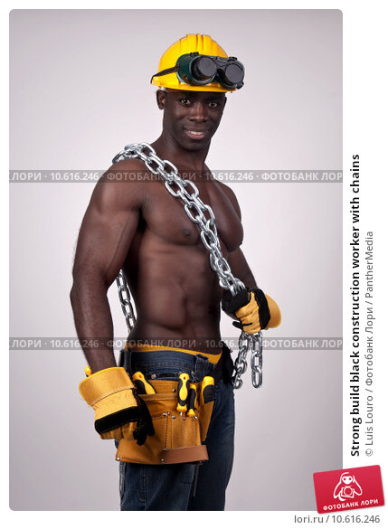 Strong build black construction worker with chains . Стоковое фото, фотограф Luis Louro / PantherMedia / Фотобанк Лори