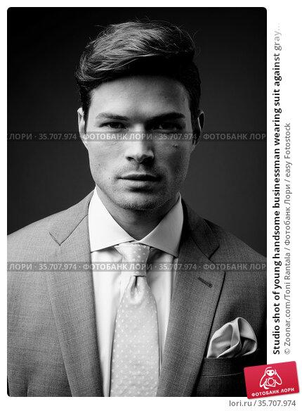 Studio shot of young handsome businessman wearing suit against gray... Стоковое фото, фотограф Zoonar.com/Toni Rantala / easy Fotostock / Фотобанк Лори