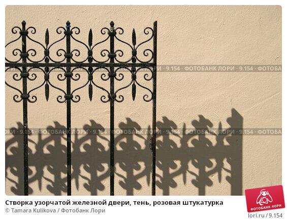 Створка узорчатой железной двери, тень, розовая штукатурка, фото № 9154, снято 10 сентября 2006 г. (c) Tamara Kulikova / Фотобанк Лори