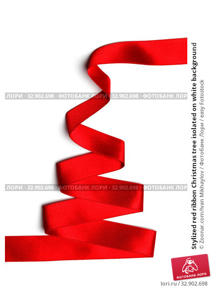 Stylized red ribbon Christmas tree isolated on white background. Стоковое фото, фотограф Zoonar.com/Ivan Mikhaylov / easy Fotostock / Фотобанк Лори