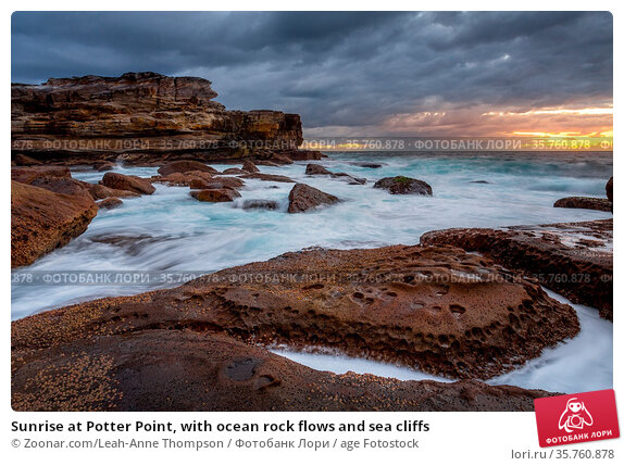 Sunrise at Potter Point, with ocean rock flows and sea cliffs. Стоковое фото, фотограф Zoonar.com/Leah-Anne Thompson / age Fotostock / Фотобанк Лори