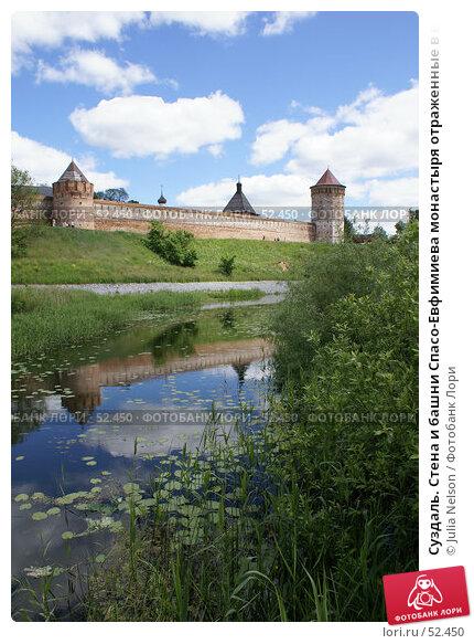 Суздаль. Стена и башни Спасо-Евфимиева монастыря отраженные в воде, фото № 52450, снято 11 июня 2007 г. (c) Julia Nelson / Фотобанк Лори