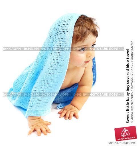 Sweet little baby boy covered blue towel. Стоковое фото, фотограф Anna Omelchenko / PantherMedia / Фотобанк Лори