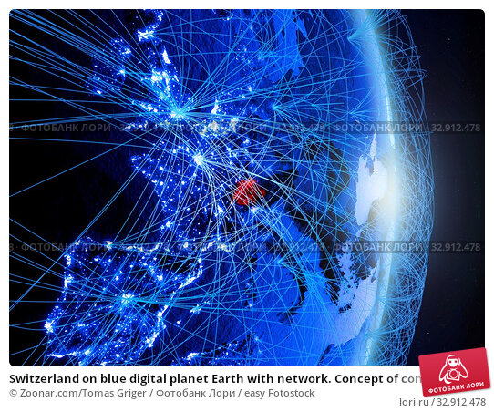 Switzerland on blue digital planet Earth with network. Concept of connectivity, travel and communication. 3D illustration. Elements of this image furnished by NASA. Стоковое фото, фотограф Zoonar.com/Tomas Griger / easy Fotostock / Фотобанк Лори