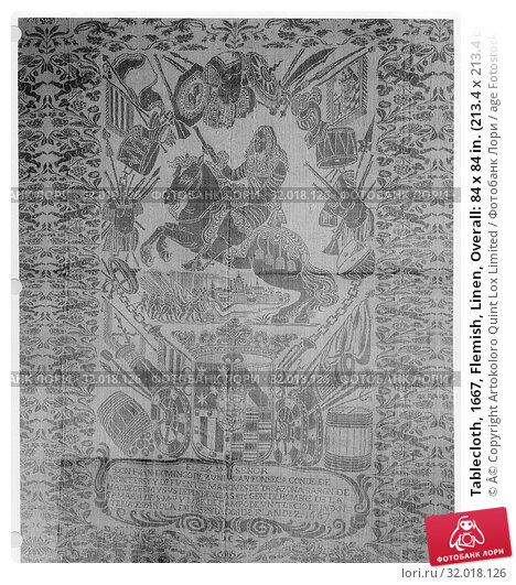 Купить «Tablecloth, 1667, Flemish, Linen, Overall: 84 x 84 in. (213.4 x 213.4 cm), Textiles-Woven», фото № 32018126, снято 15 мая 2017 г. (c) age Fotostock / Фотобанк Лори