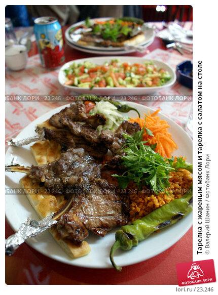 Тарелка с жареным мясом и тарелка с салатом на столе, фото № 23246, снято 17 ноября 2006 г. (c) Валерий Шанин / Фотобанк Лори